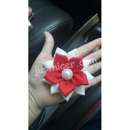 Red white flower hair clip/bros