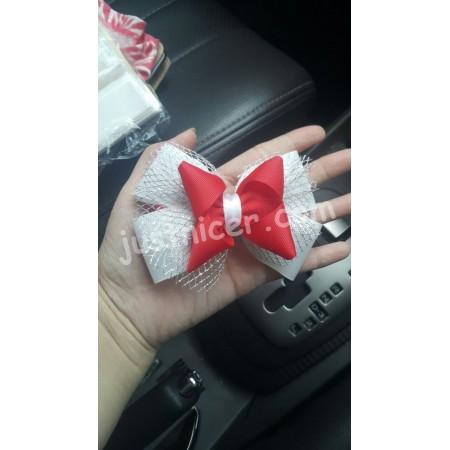 Red white flower2 hair clip/bros