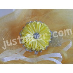 Tissue Yellow flower1 hair clip/bros