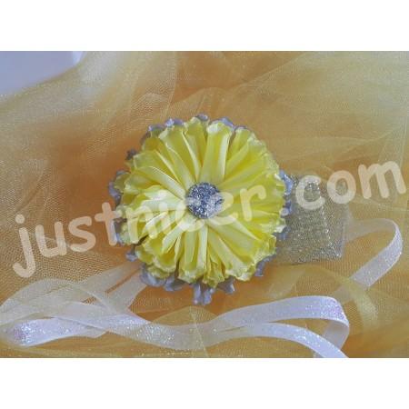 Tissue Yellow flower1 hair clip/bros